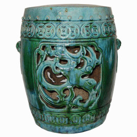 A Finely Finished Ceramic Garden Stool, 21 Inch, Antiqued Turquoise Finish