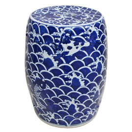 A Finely Finished Ceramic Garden Stool, 18 Inch, Classic Blue and White Pattern