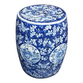 A Finely Finished Ceramic Garden Stool, 17.5 Inch, Blue and White Butterfly Pattern