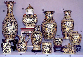Ebony Black and Gold Lotus Scroll - Luxury Chinese Porcelain Styles - 11bA small grouping of LCP Styles - 11b