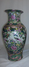 A Figural Scene Gold Rose Medallion - Luxury Handmade Reproduction Chinese Porcelain - 14 Inch Flower | Mantel Vase - Style 3