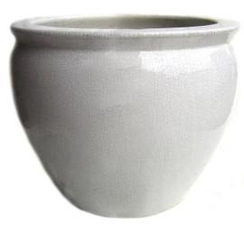 White Ivory Decorator Crackle - Luxury Handmade Chinese Porcelain - 14 Inch Fish Bowl | Planter - Style 35