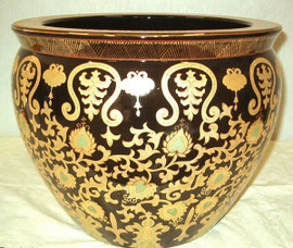 Black and Gold - High End Handmade Porcelain - 14 Inch Chinese | Oriental Fish Bowl | Fishbowl | Planter