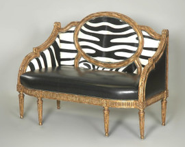 Giltwood Hand Carved Neo Classical Style - 54 Inch Canape' | Settee | Sofa - Faux Zebra and Ebony Black Leather Upholstery