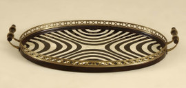 31 Inch Oval Gallery Tray - Ebony and Eggshell Patterned Lacquer Bottom - Antique Brass Accents