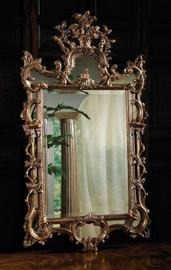 High End - Hand Carved George II Style - 59 Inch Giltwood Beveled Glass Mirror - Antiqued Mirror Accent