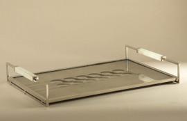 21 Inch Rectangular Mirror Vanity Tray - Venetian Mirror Style - Onyx and Nickel Accents