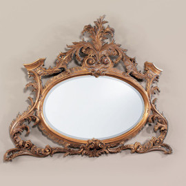 High End - Hand Carved Louis XV Rococo Styled - 54 Inch Oval Giltwood Mantel, Buffet Mirror