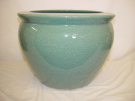 Celadon Decorator Crackle - Luxury Handmade Chinese Porcelain - 12 Inch Fish Bowl | Planter - Style 35