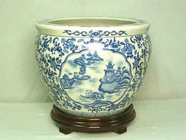 Blue and White Pagoda - Luxury Handmade Reproduction Chinese Porcelain - 14 Inch Fish Bowl | Planter Style 35