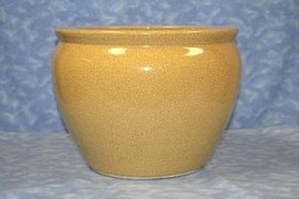 Golden Yellow Decorator Crackle - Luxury Handmade Chinese Porcelain - 14 Inch Fish Bowl | Fishbowl | Planter Style 35