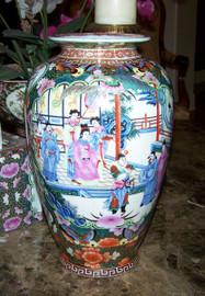 A Figural Scene Gold Rose Medallion - Luxury Handmade Reproduction Chinese Porcelain - 14 Inch Flower | Mantel Vase - Style 807