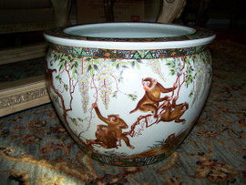 Merry Monkeys - Luxury Handmade Reproduction Chinese Porcelain - 16 Inch Fish Bowl | Planter Style 35