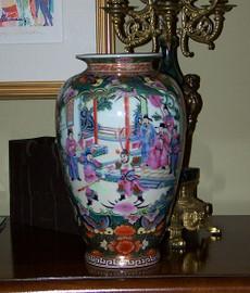 A Figural Scene Gold Rose Medallion - Luxury Handmade Reproduction Chinese Porcelain - 12 Inch Flower | Mantel Vase - Style 807