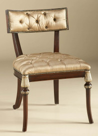 Hardwood Hand Carved - 34 Inch Accent Chair - Rich Wood Finish with Gold Accents - Neutral Silk Upholstery