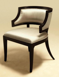 Hardwood Hand Made - 32 Inch Occasional Chair - Black Truffle Finish with Silver Silk Upholstery