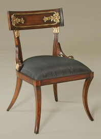 Hardwood Hand Carved English Regency Style - 35 Inch Accent Chair - Wood and Gilt Finish with Black Silk Upholstery