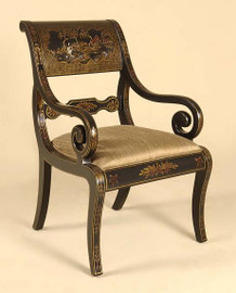 Hardwood Hand Painted Chinoiserie Style - 37 Inch Accent | Arm Chair - Black Finish with Gold Upholstery