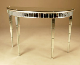 Silver Beveled Glass Mirror and Hardwood - 55 Inch Demilune Console, Sofa Table - Silver Parcel Gilt Finish