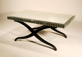 Hardwood and Mirrored Beveled Glass - 50 Inch Cocktail, Coffee Table - Eggplant Finish with Silver Accents