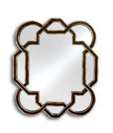 Contemporary Geometric - 51 Inch Oversized Modern Style Mirror - Eggplant and Silver Gilt Finish