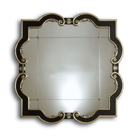 Contemporary - 50 Inch Oversized Rounded Square Mirror - Ebony Black and Antique Silver Finish