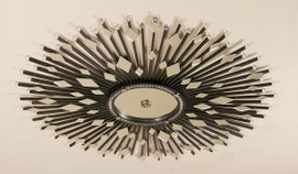 Iron Sunburst - Diamond Shaped Beveled Glass Round 50 Inch Ceiling Mirror - Ebony Black Finish with Gold Accents