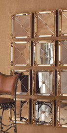 Set of Four Modern Venetian Style - Square 16 Inch Wrought and Beveled Glass Mirror - Gold Leaf Finish