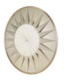 3d Raised Sunburst - Round 59 Inch Glass Mirror - Silver Gilt Finish