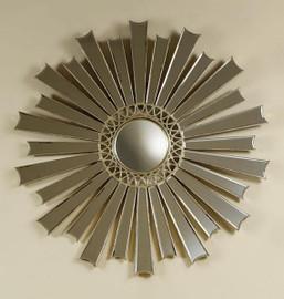 Iron Sunburst and Convex - Round 54 Inch Beveled Glass Mirror - Silver Parcel Gilt Finish