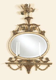 Reproduction Girandole - Ornate Taper Candle 50 Inch Wall Sconce - Oval Bevel Glass Mirror - Antique Gold Finish