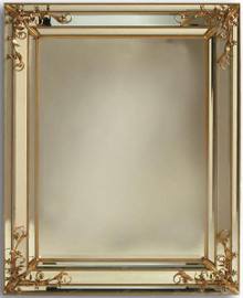 Modern Venetian Style - Rectangular 51 Inch Wrought and Beveled Glass Mirror - Antique Gold Finish