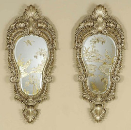 Reverse Hand Painted and Etched Mirror - 48 inch Carved Mirror Right and Left Pair - Antique Silver Finish