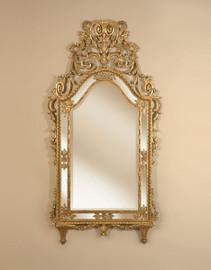 Hand Carved Hardwood - 71 Inch Ornate Oversized Beveled Glass Mirror - Burnished Parcel Gilt Finish