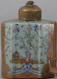 A Fantasia Pattern, Luxury Hand Painted Chinese Porcelain and Gilt Brass Ormolu, 8 Inch Jar