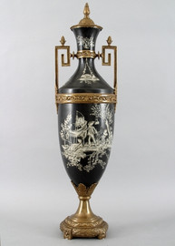 Ebony Black Toile Pattern, Luxury Hand Painted Porcelain and Gilt Bronze Ormolu, 32 Inch Palace Size Covered Urn