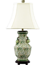 A Classic Fern Pattern - Luxury Hand Painted Chinese Porcelain - 29 Inch Tabletop Lamp
