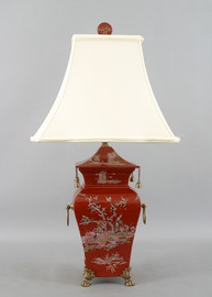 Crimson Garden Pattern - Luxury Hand Painted Porcelain and Gilt Bronze Ormolu - 28 Inch Lamp with Shade