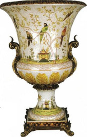 Pristine Parrots Pattern, Luxury Hand Painted Porcelain and Gilt Bronze Ormolu, 30 Inch Trophy Cup Urn | Vase