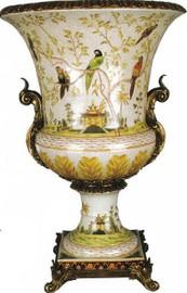Pristine Parrots Pattern, Luxury Hand Painted Porcelain and Gilt Bronze Ormolu, 30 Inch Trophy Cup Cassolette Urn | Vase