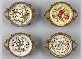 Coasters   Group V, Luxury Hand Painted Porcelain and Gilt Bronze Ormolu, Set of Four