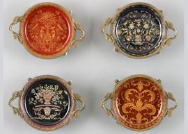 Coasters   Group II, Luxury Hand Painted Porcelain and Gilt Bronze Ormolu, Set of Four