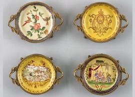Coasters   Group III, Luxury Hand Painted Porcelain and Gilt Bronze Ormolu, Set of Four