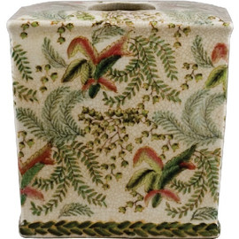 A Classic Fern Pattern, Luxury Hand Painted Chinese Porcelain, 6.25 Inch Tissue Box