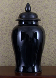Solid Black, Luxury Hand Painted Porcelain, 18 Inch Temple Jar