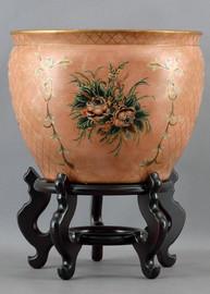 Garden Bouquet Pattern, Luxury Hand Painted Porcelain, 16 Inch Fish Bowl   Planter