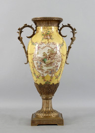 French Countryside Pattern, Luxury Hand Painted Porcelain and Parcel Gilt Bronze Ormolu, 22 Inch Vase