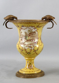 French Countryside Pattern, Luxury Hand Painted Porcelain and Gilt Bronze Ormolu, 13.5 Inch Vase
