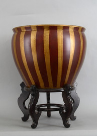 Red and Gold Vertical Stripes, Luxury Hand Painted Porcelain, 18 Inch Fish Bowl   Planter