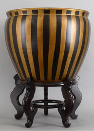 Black and Gold Vertical Stripes, Luxury Hand Painted Porcelain, 20 Inch Fish Bowl   Planter